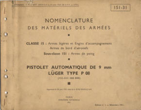French Manual for P08 made under French Control - 1951